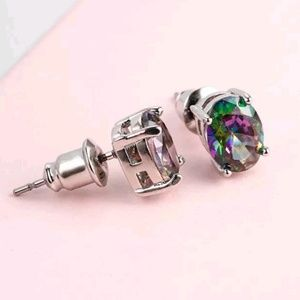 Jewelry - Mystic Topaz Crystal Oval Stud Earrings